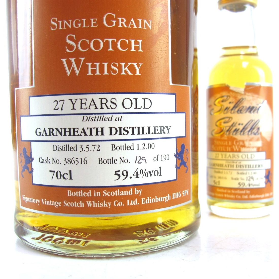 Garnheath 1972 Signatory Vintage 27 Year Old / Silent Stills including Miniature 5cl