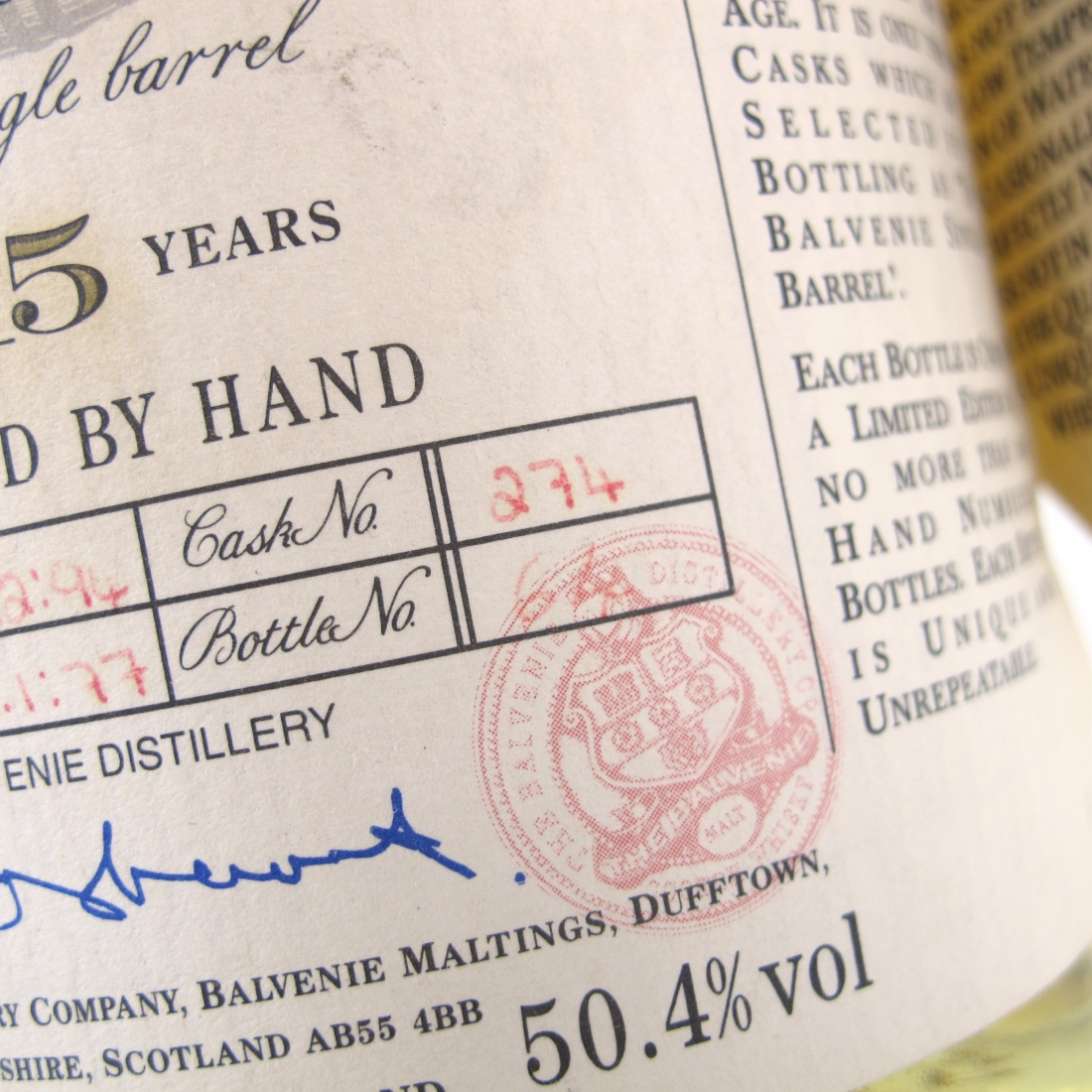 Balvenie 1977 15 Year Old Single Barrel