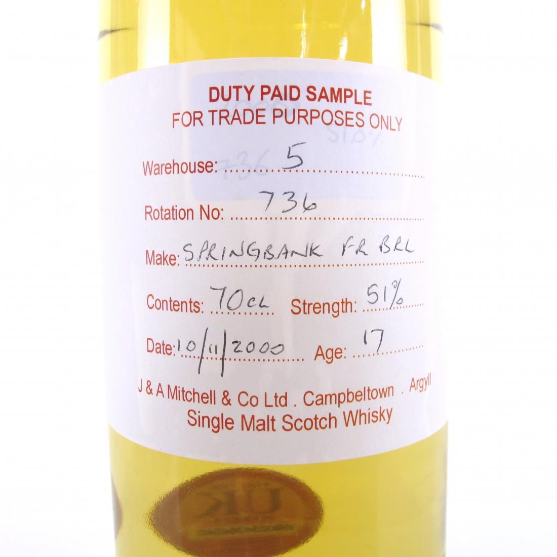 Springbank 2000 Duty Paid Sample 17 Year Old / Fresh Rum Barrel