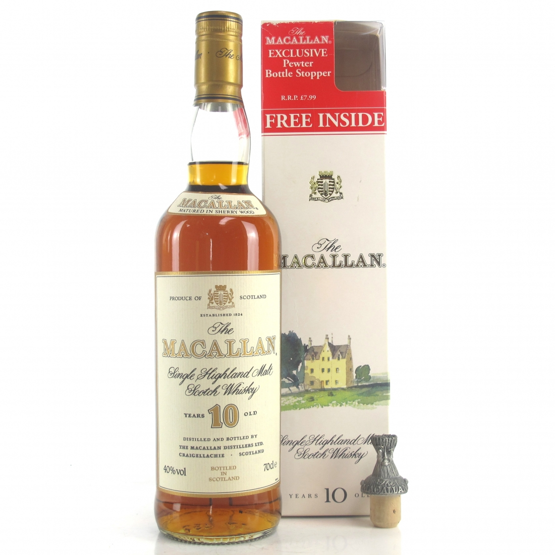 Macallan 10 Year Old 1990s / with Pewter Stopper