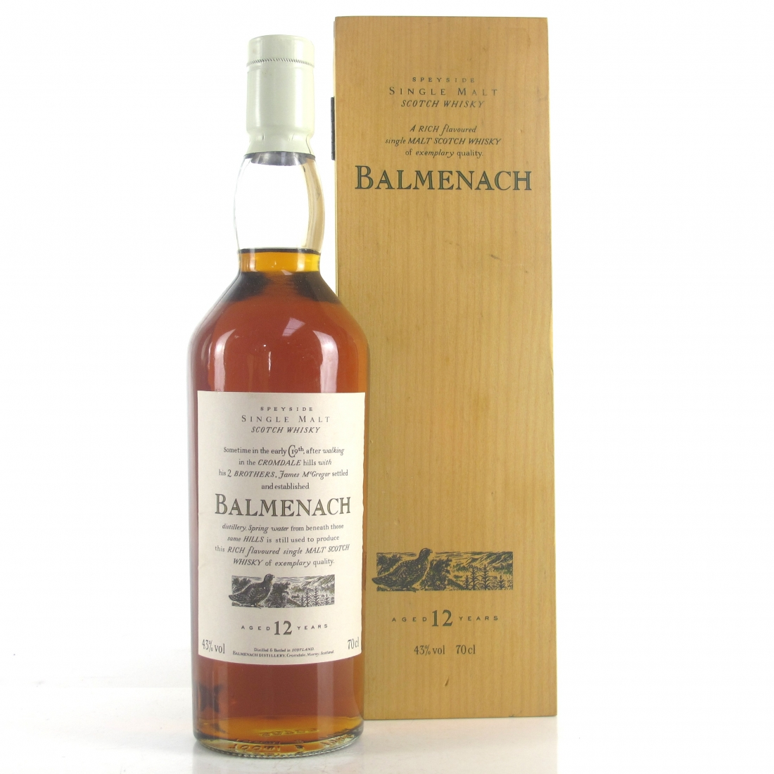 Balmenach 12 Year Old Flora and Fauna White Cap / Wooden Box