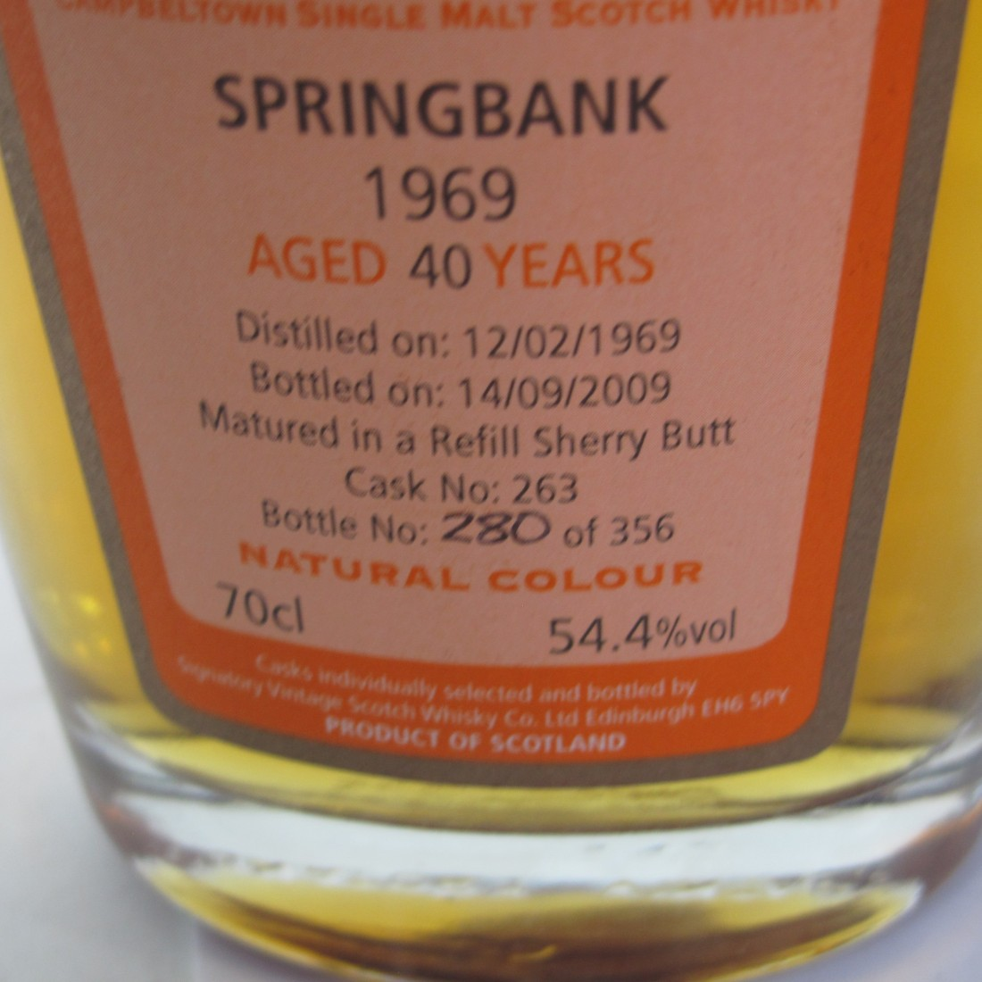 Springbank 1969 Signatory Vintage 40 Year Old / WhiskyBase #1 Rated