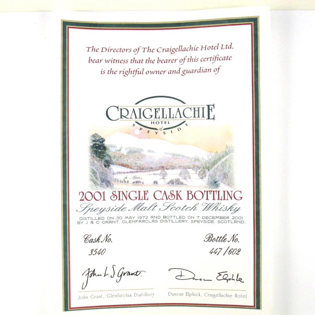 Glenfarclas 1972 Single Cask 29 Year Old / Craigellachie Hotel Exclusive