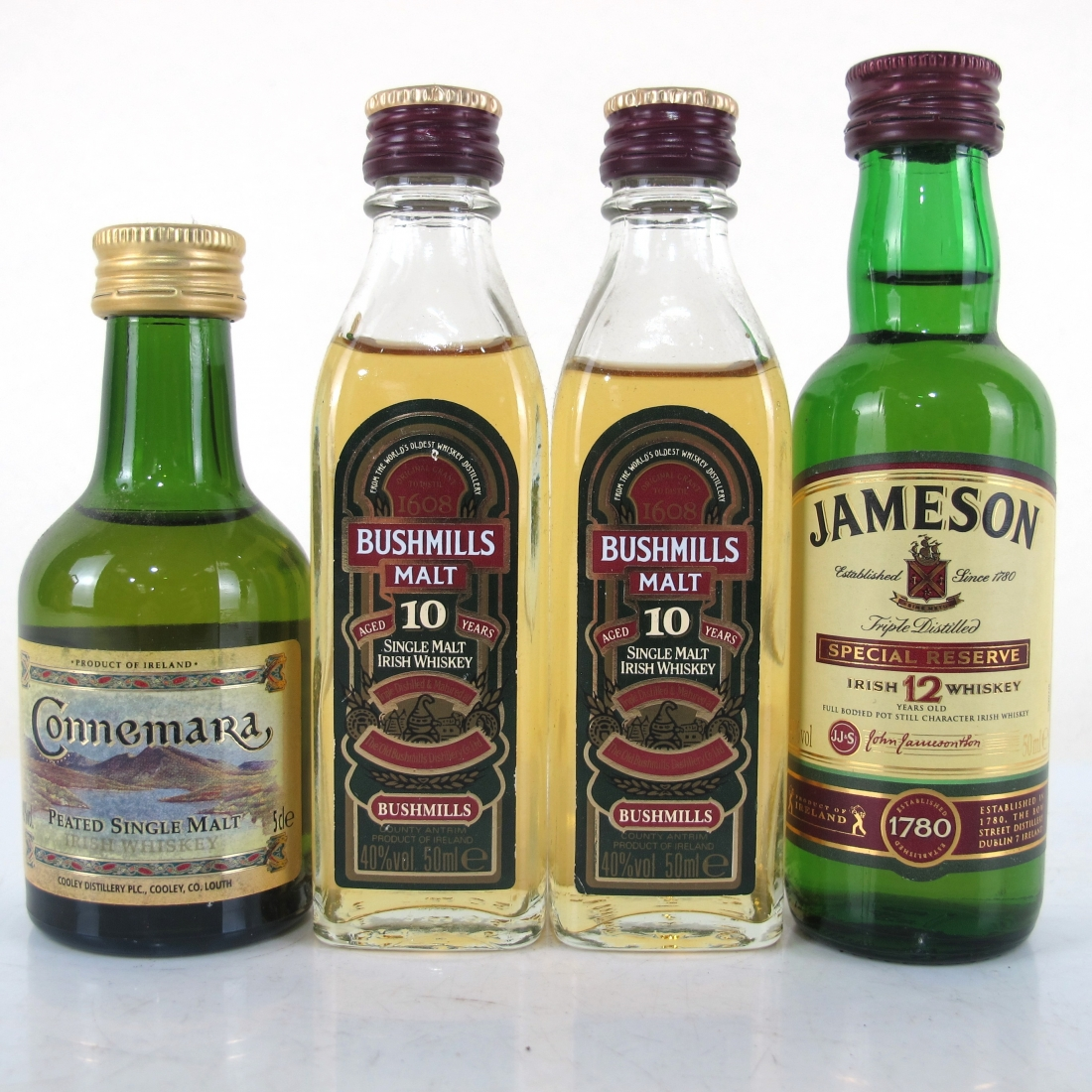 Irish Whisky Miniature Selection 4x 5cl / Including Connemara Peated