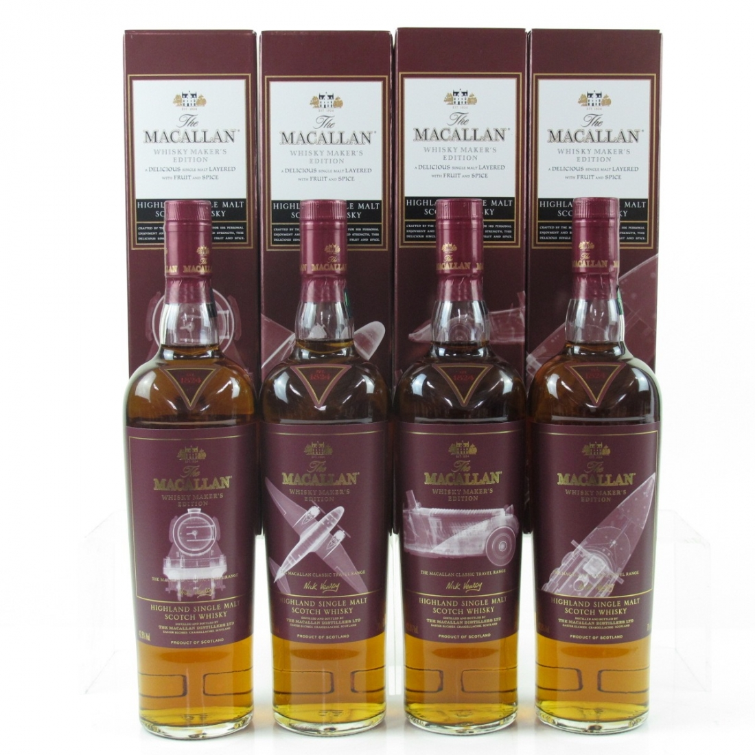 Macallan Whisky Makers Edition Classic Travel Range Nick Veasey Limited Edition 4 x 70cl