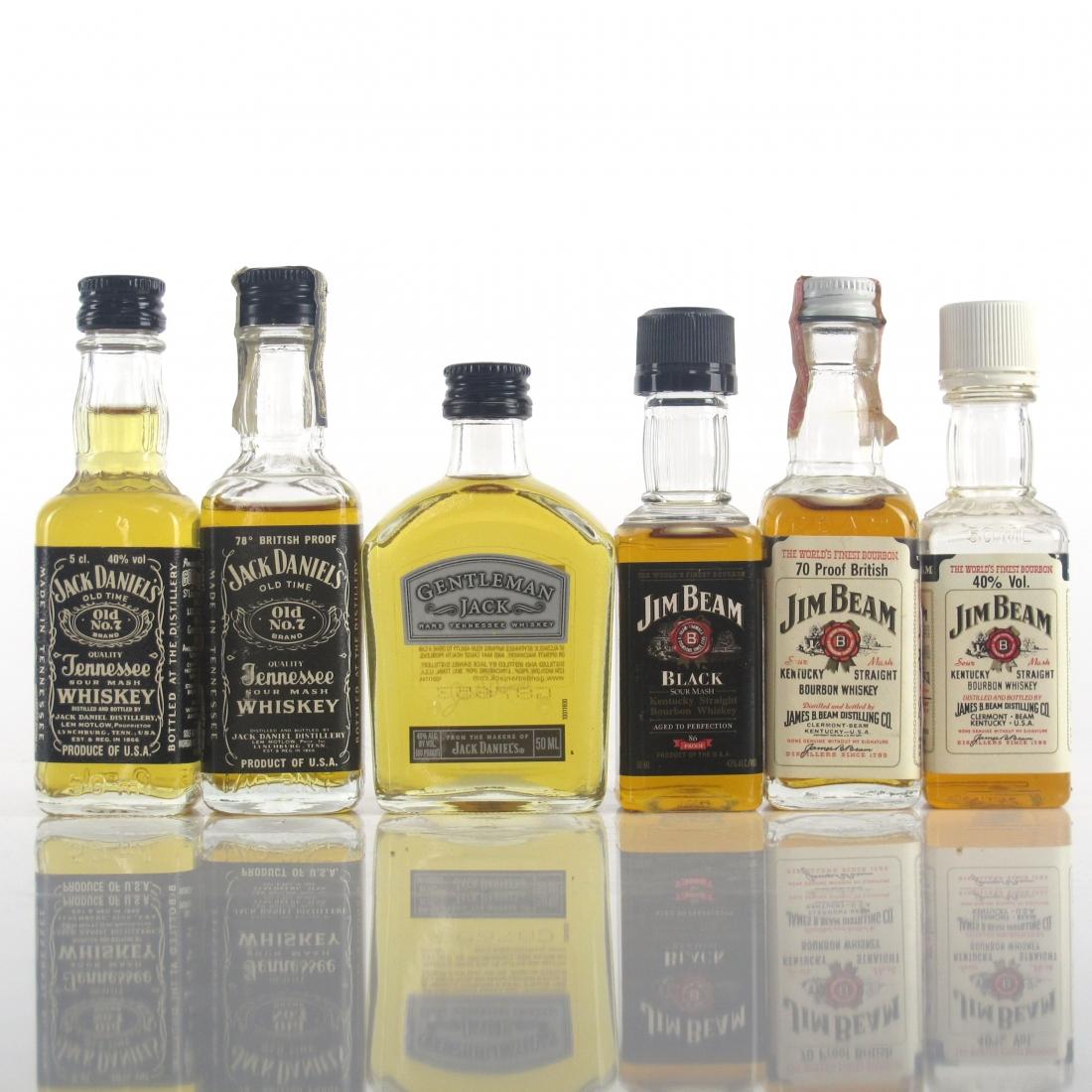 Jack Daniels and Jim Beam Miniatures Selection x 6