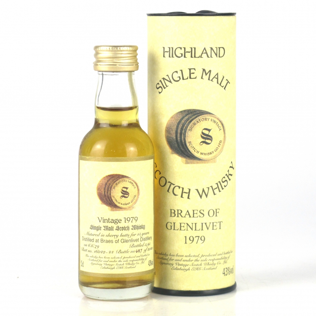 Braes of Glenlivet / Braeval 1979 Signatory Vintage 15 Year Old Miniature 5cl
