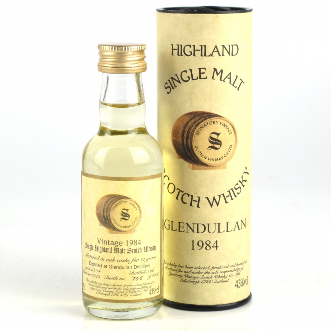 Glendullan 1984 Signatory Vintage 11 Year Old Minature 5cl