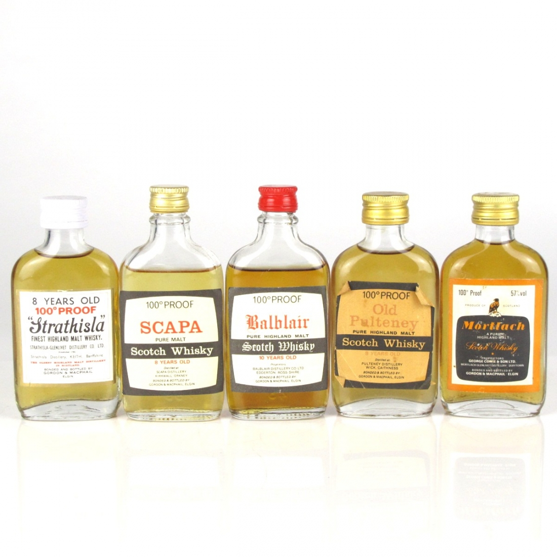 Gordon and MacPhail 100 Proof 1970s Miniature Selection 5 x 5cl