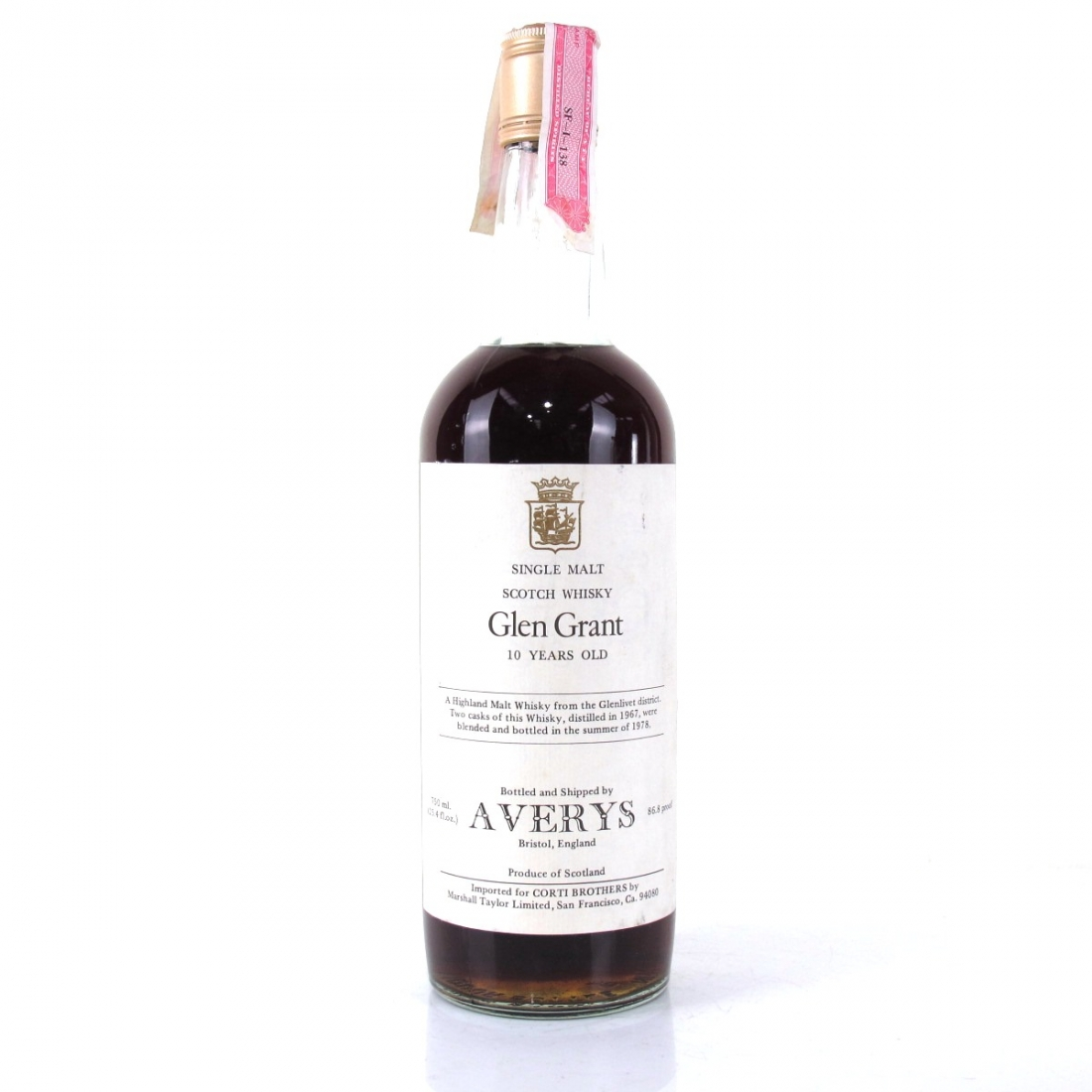 Glen Grant 1967 Averys for Corti 10 Year Old / US Import