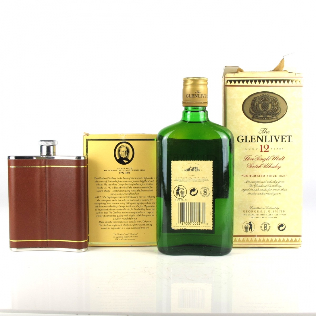 Glenlivet 12 Year Old 35cl and Matching Hip Flask Circa 1990s