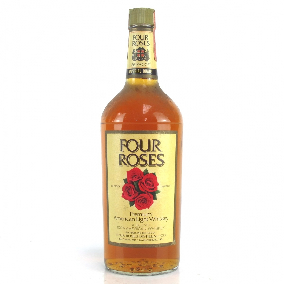 Four Roses Premium American Light Whiskey 1 Quart 1970s