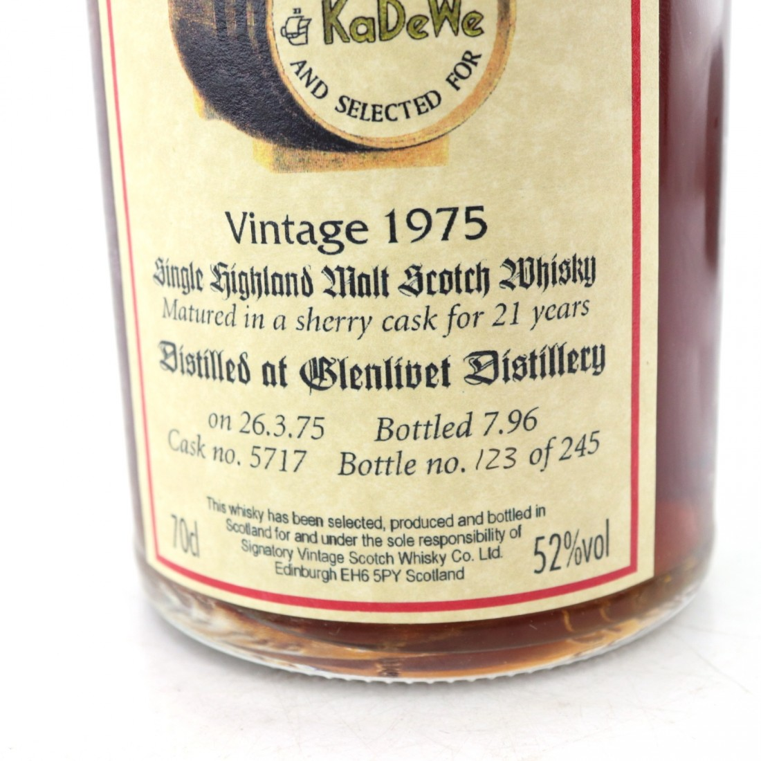 Glenlivet 1975 Signatory Vintage 21 Year Old / KaDeWe