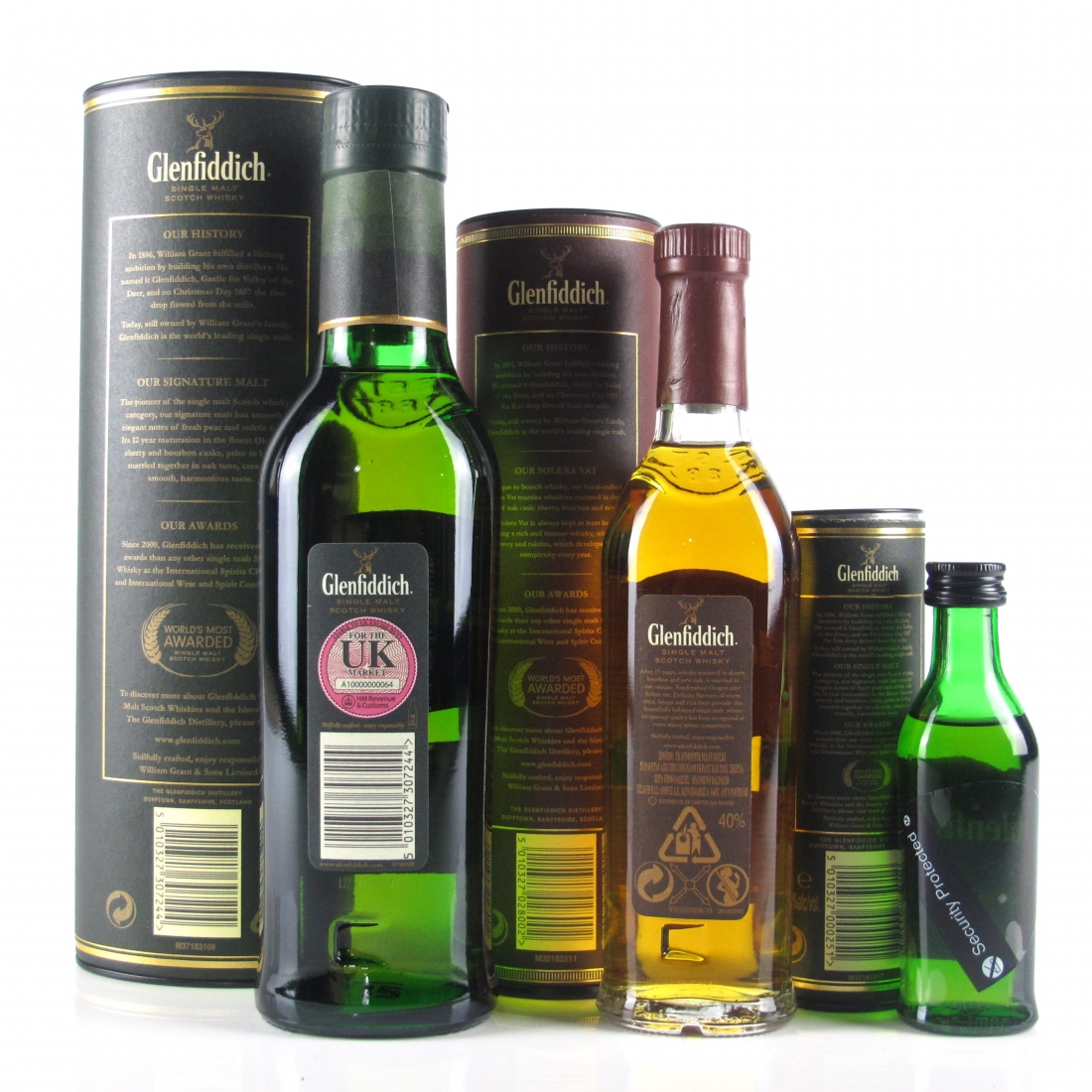 Glenfiddich 12 Year Old 35cl & 5cl and 15 Year Old 20cl