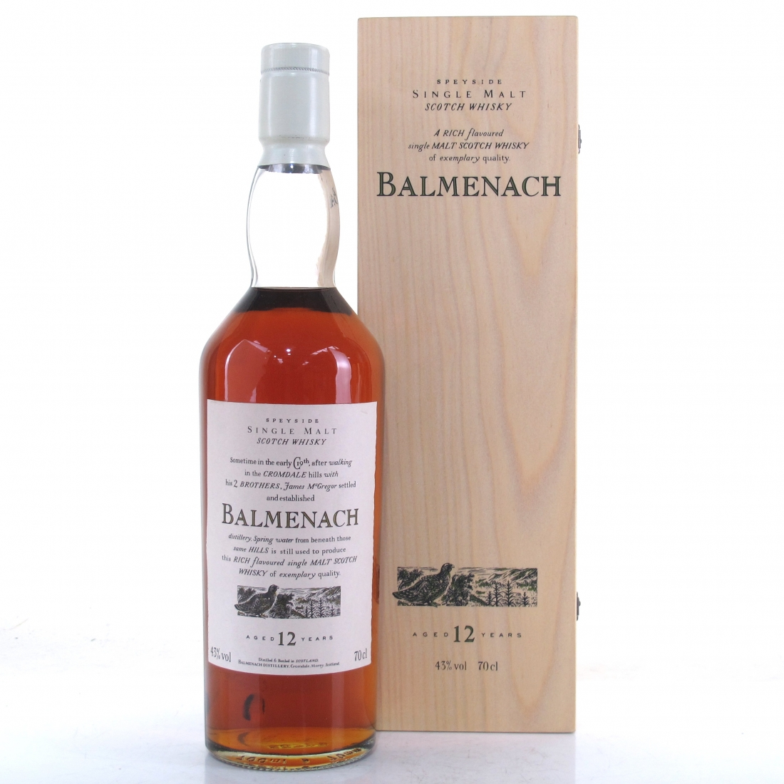 Balmenach 12 Year Old Flora and Fauna White Cap / Wooden Box