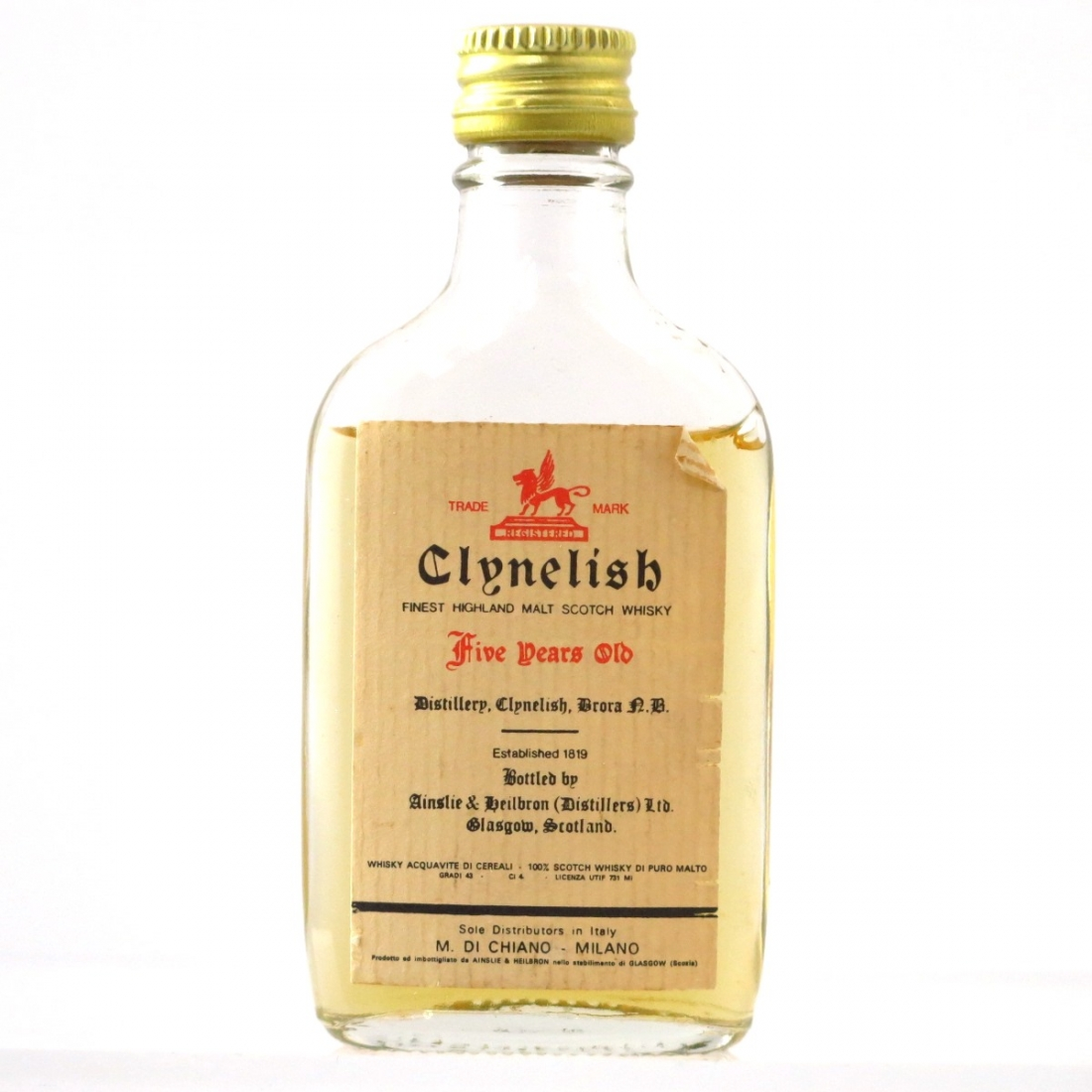 Clynelish 5 Year Old Ainslie and Heilbron Miniature Circa 1970s / Di Chiano Import