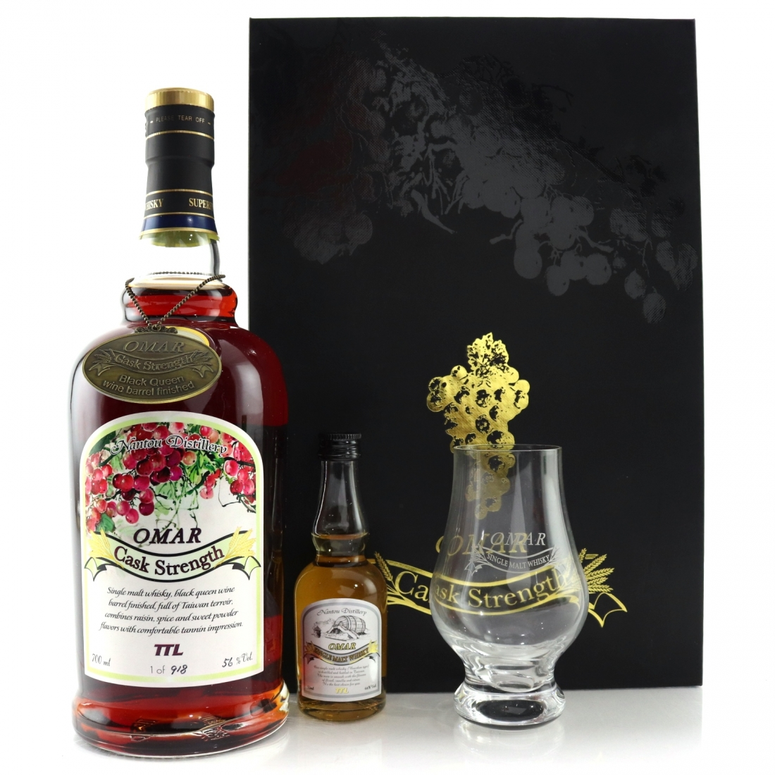 Nantou Omar Cask Strength Gift Pack / Black Queen Wine Finish with Miniature 5cl