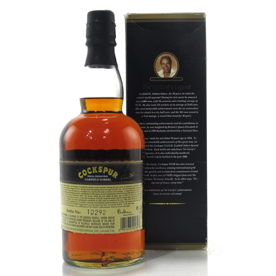 Cockspur VSOR Garfield Sobers Special Edition Rum 75cl / US Import