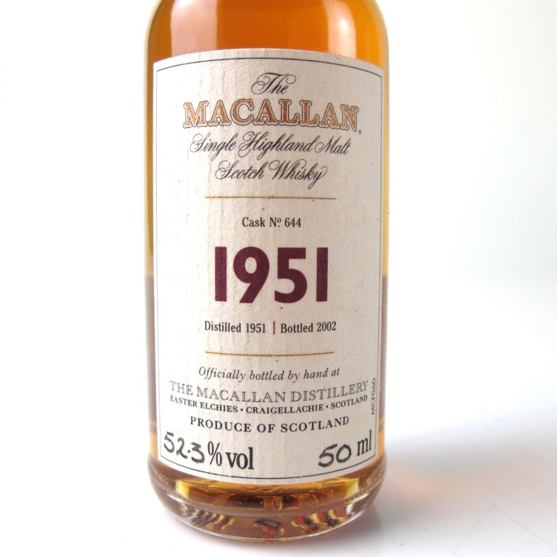 Macallan 1951 Fine And Rare Miniature 5cl