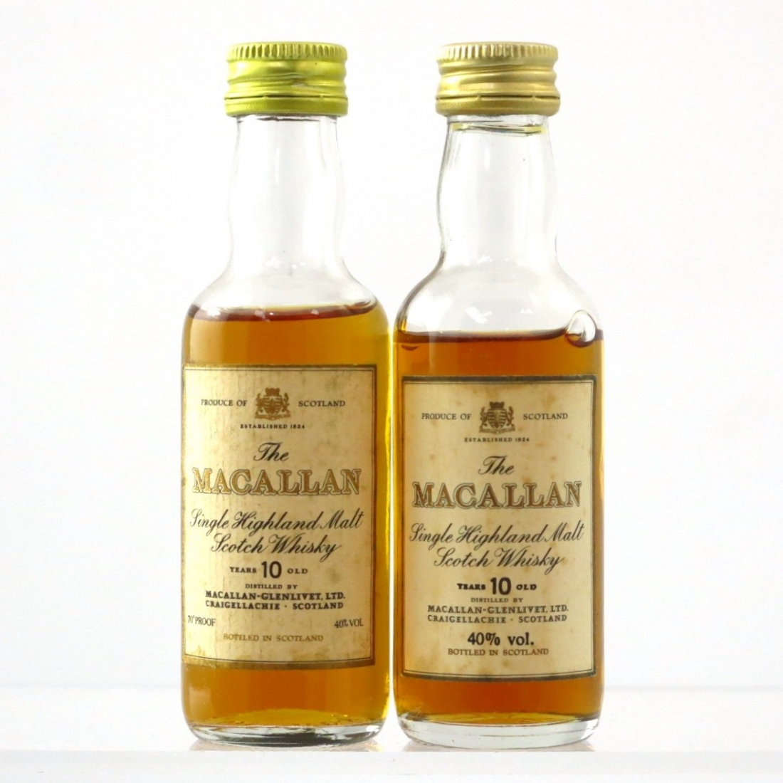 Macallan 10 Year Old Miniatures 1980s x 2