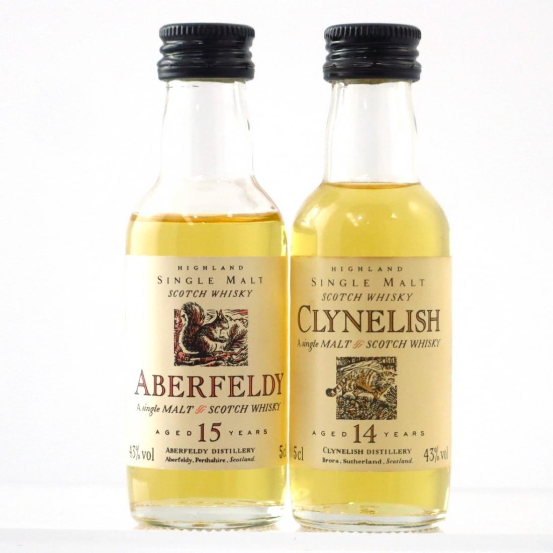 Clynelish 14 Year Old and Aberfeldy 15 Year Old Flora and Fauna Miniatures / 2 x 5cl