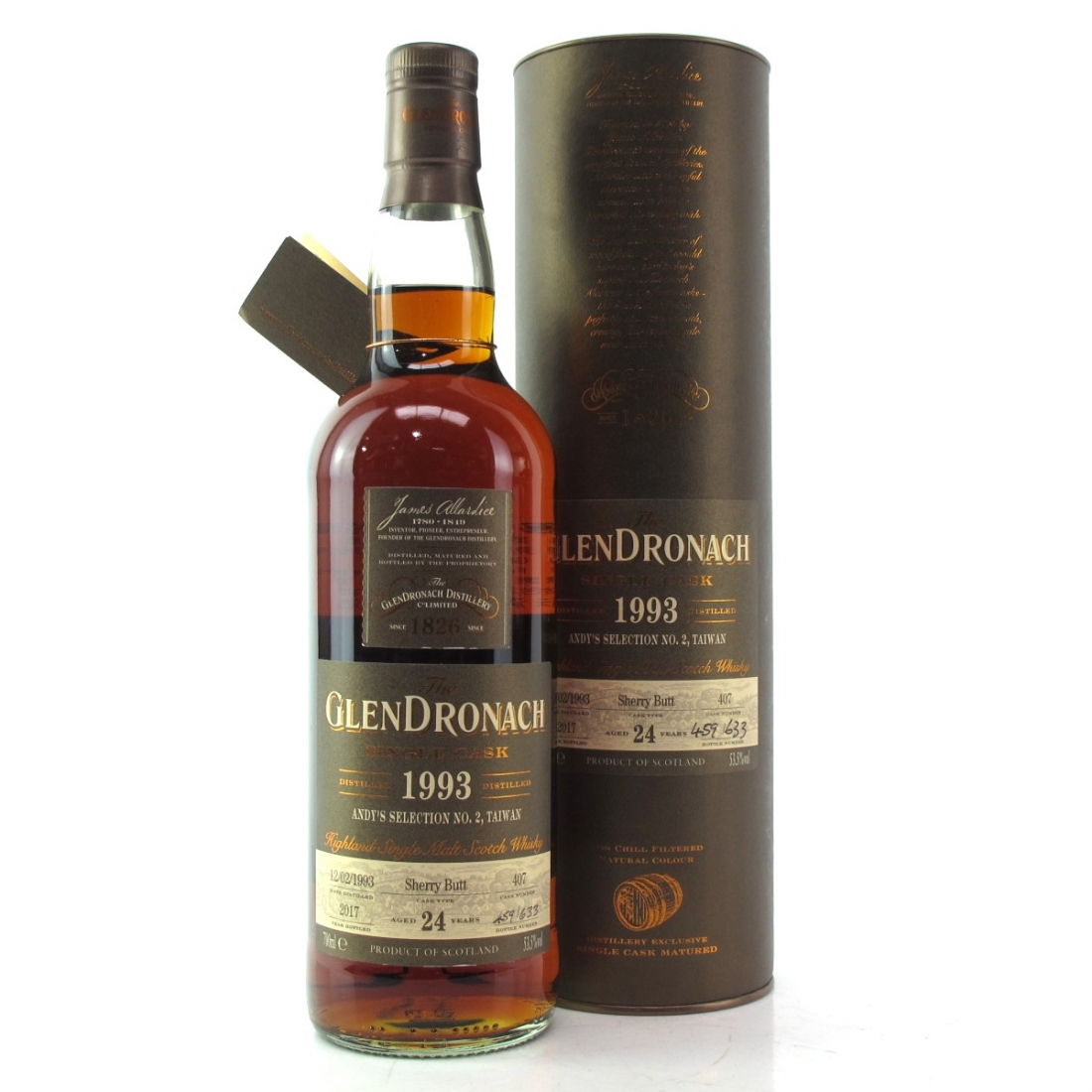 Glendronach 1993 Single Cask 24 Year Old #407 / Andy's Selection No.2, Taiwan