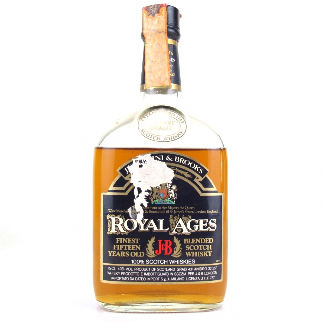 J&B Royal Ages 15 Year Old De Luxe 1980s