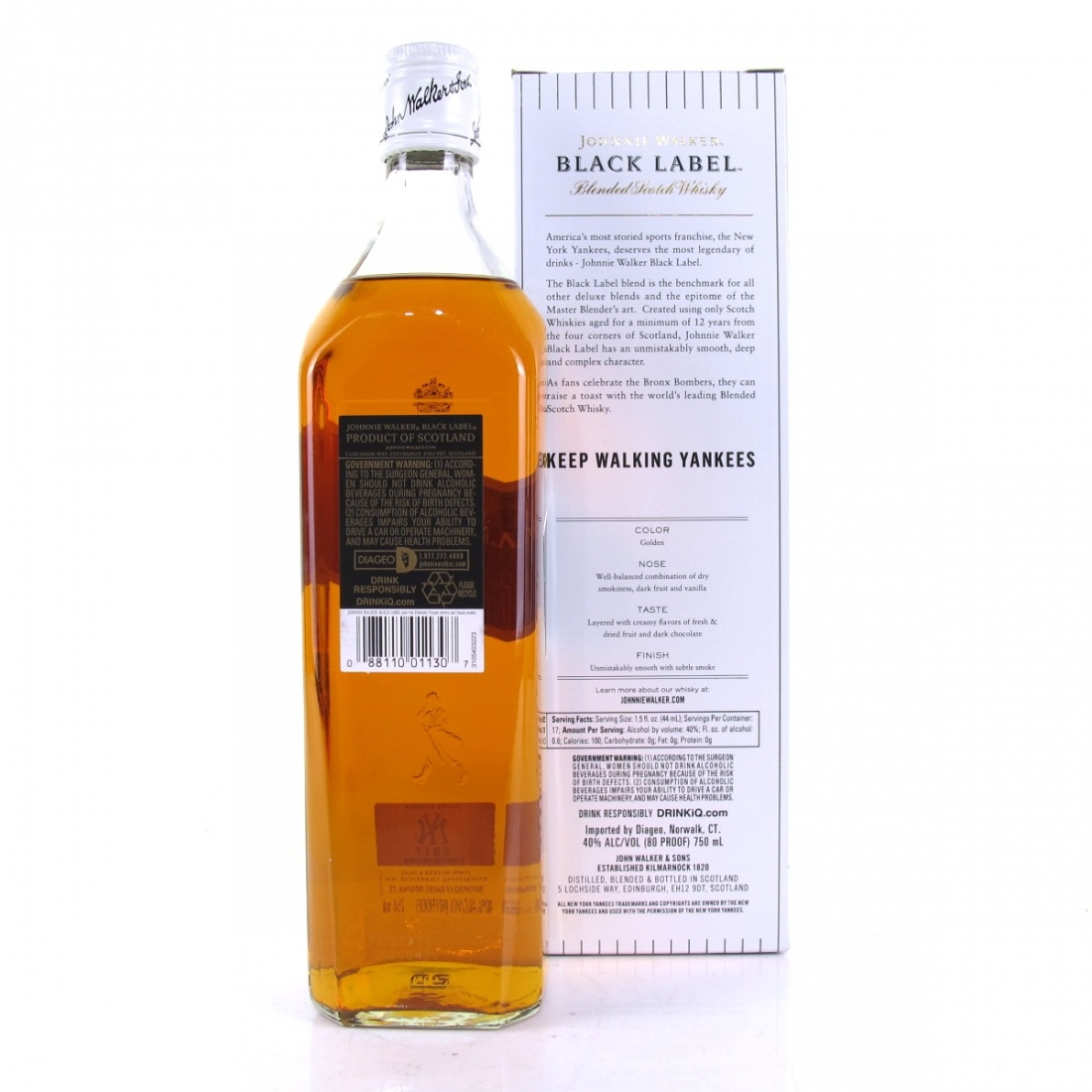 Johnnie Walker Black Label 12 Year Old / New York Yankees 75cl / US Import