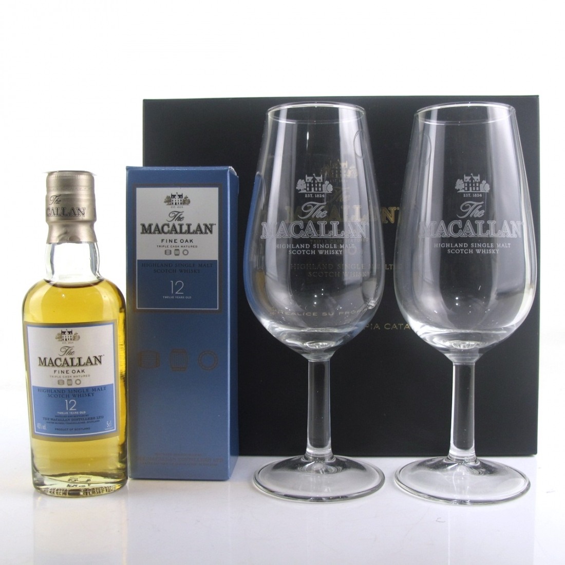 Macallan 12 Year Old Fine Oak Miniature 5cl / with Glasses x 2