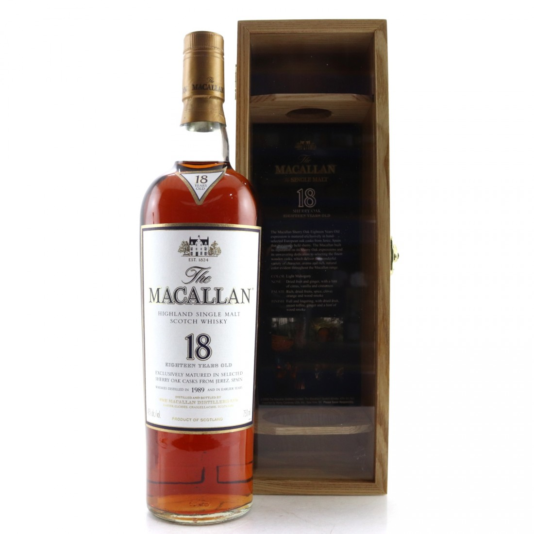 Macallan 18 Year Old 1989 / US Import with Wooden Box