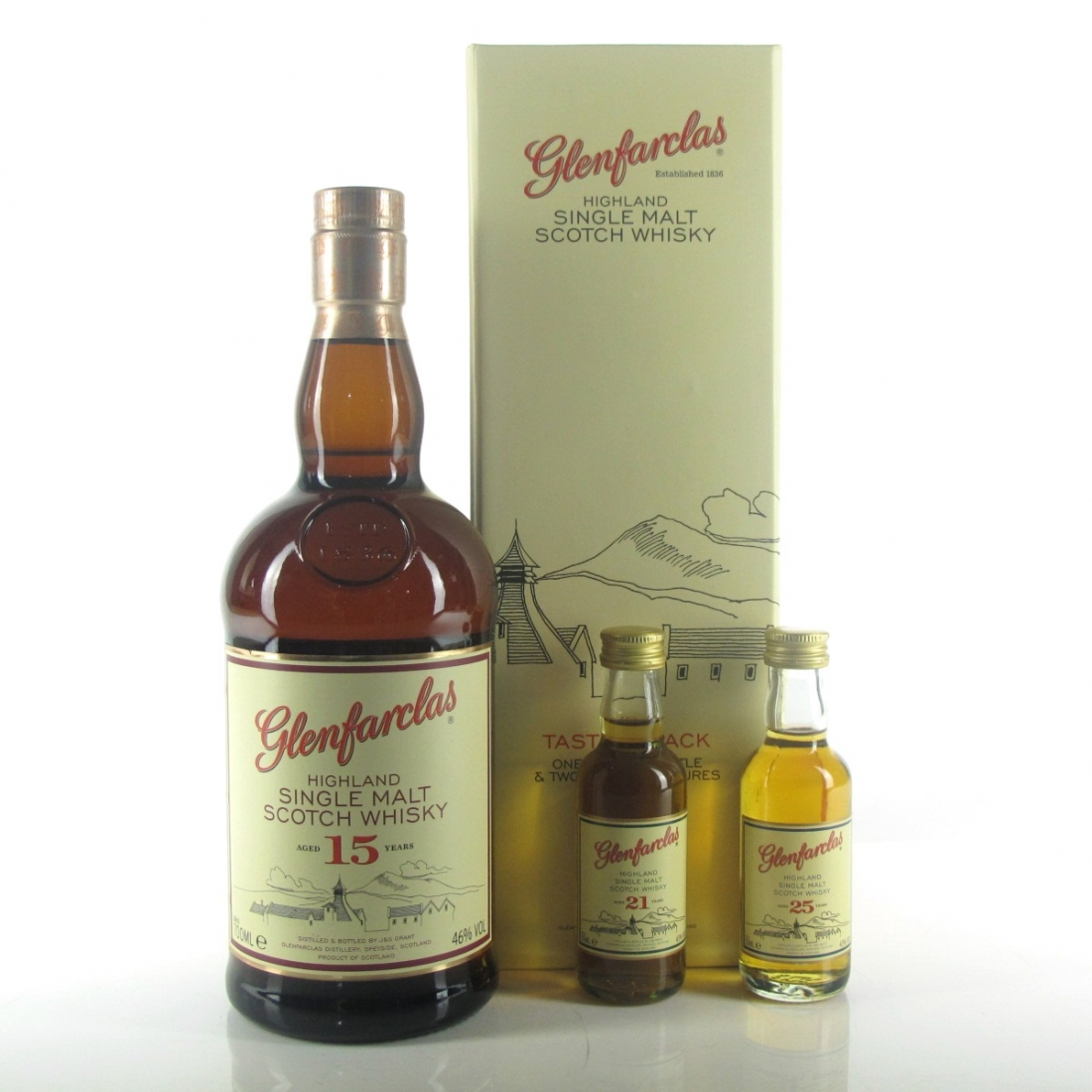 Glenfarclas 15 Year Old Including 21 and 25 Year Old Miniatures