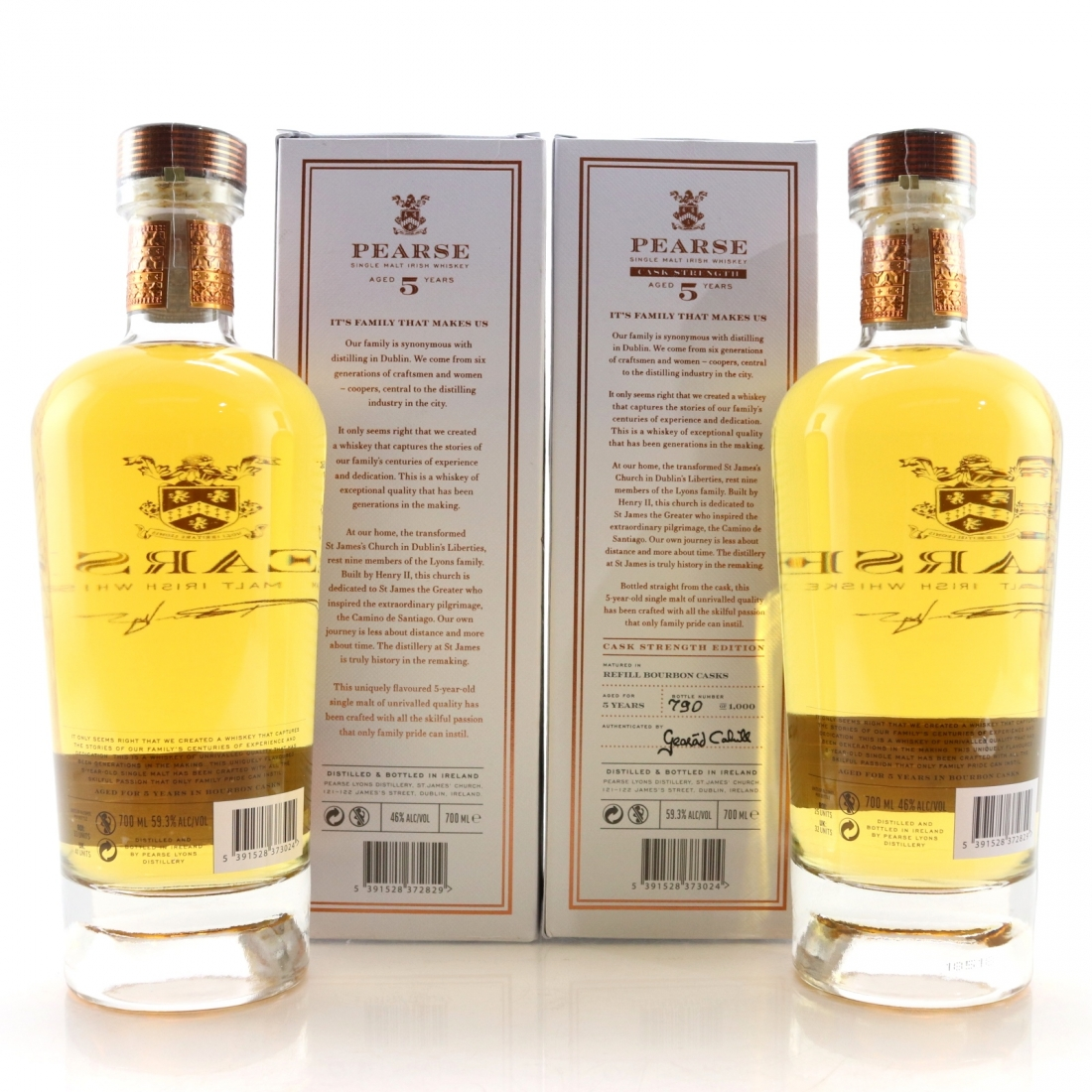 Pearse 5 Year Old Single Malt Irish Whiskey 46% and Cask Strength 59.3% 2 x 70cl