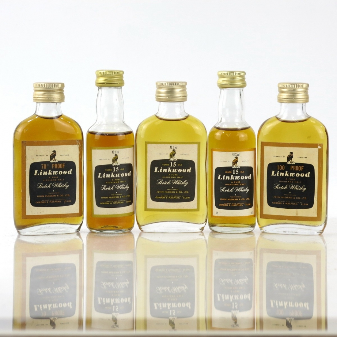Linkwood Gordon and MacPhail Miniatures x 5