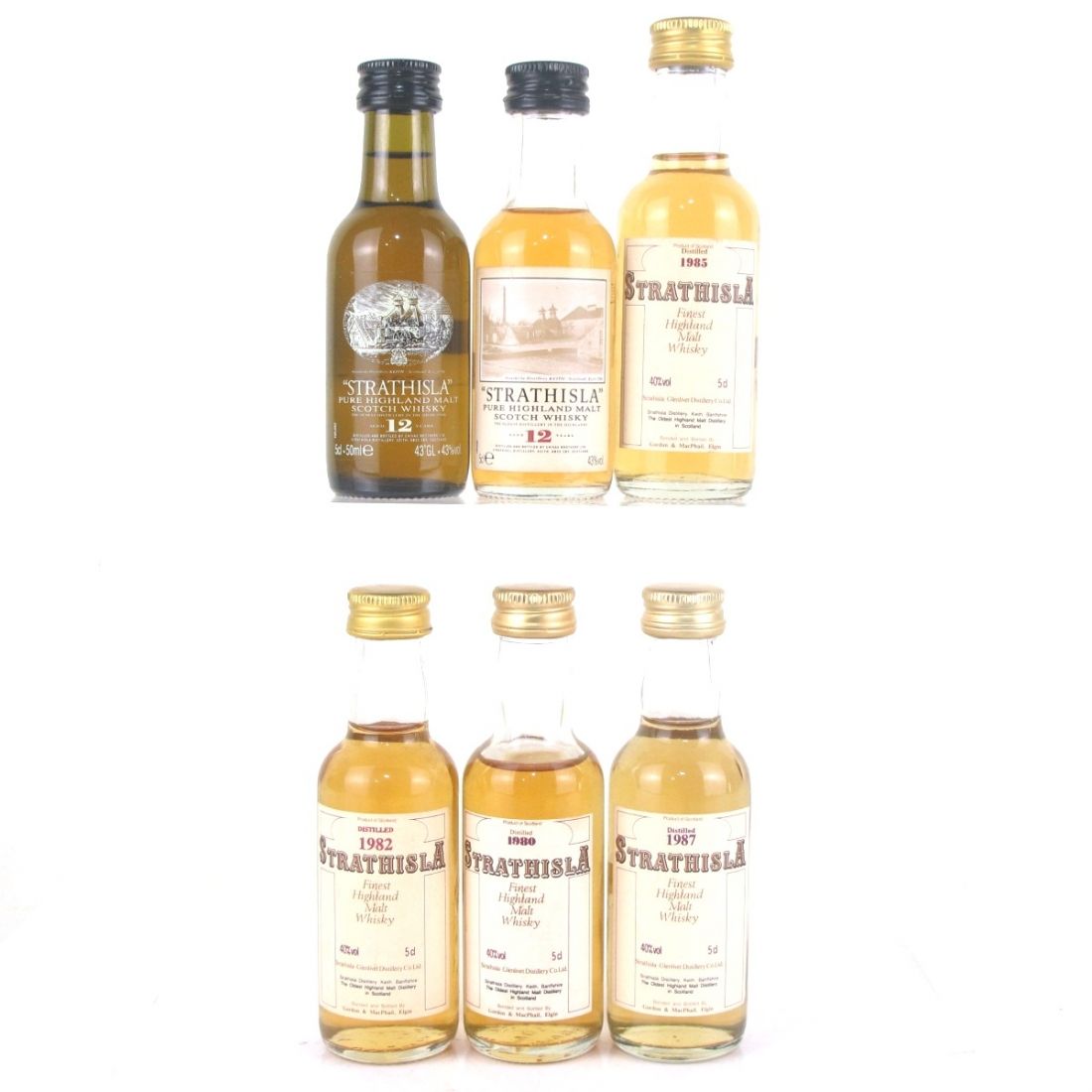 Strathisla Gordon and MacPhail & 12 Year Old Miniatures 6 x 5cl