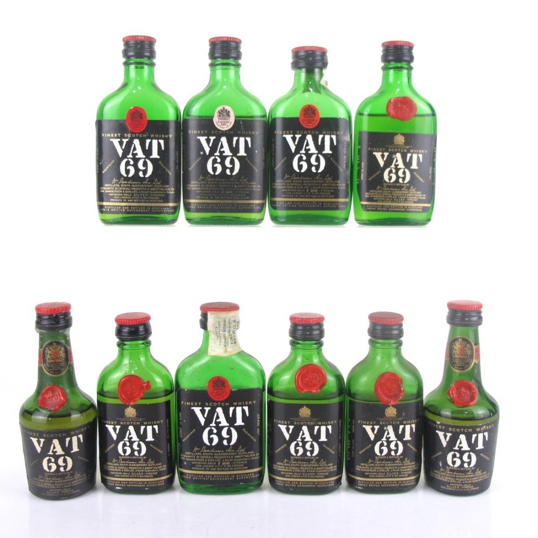 VAT 69 Miniatures 10 x 4cl 1970s / SILVER Import