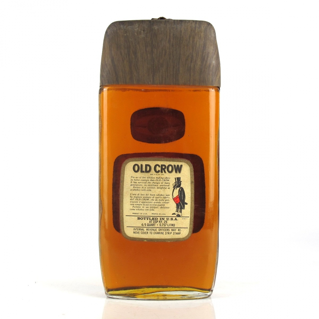 Old Crow Traveller Fifth Kentucky Straight Bourbon 1970s