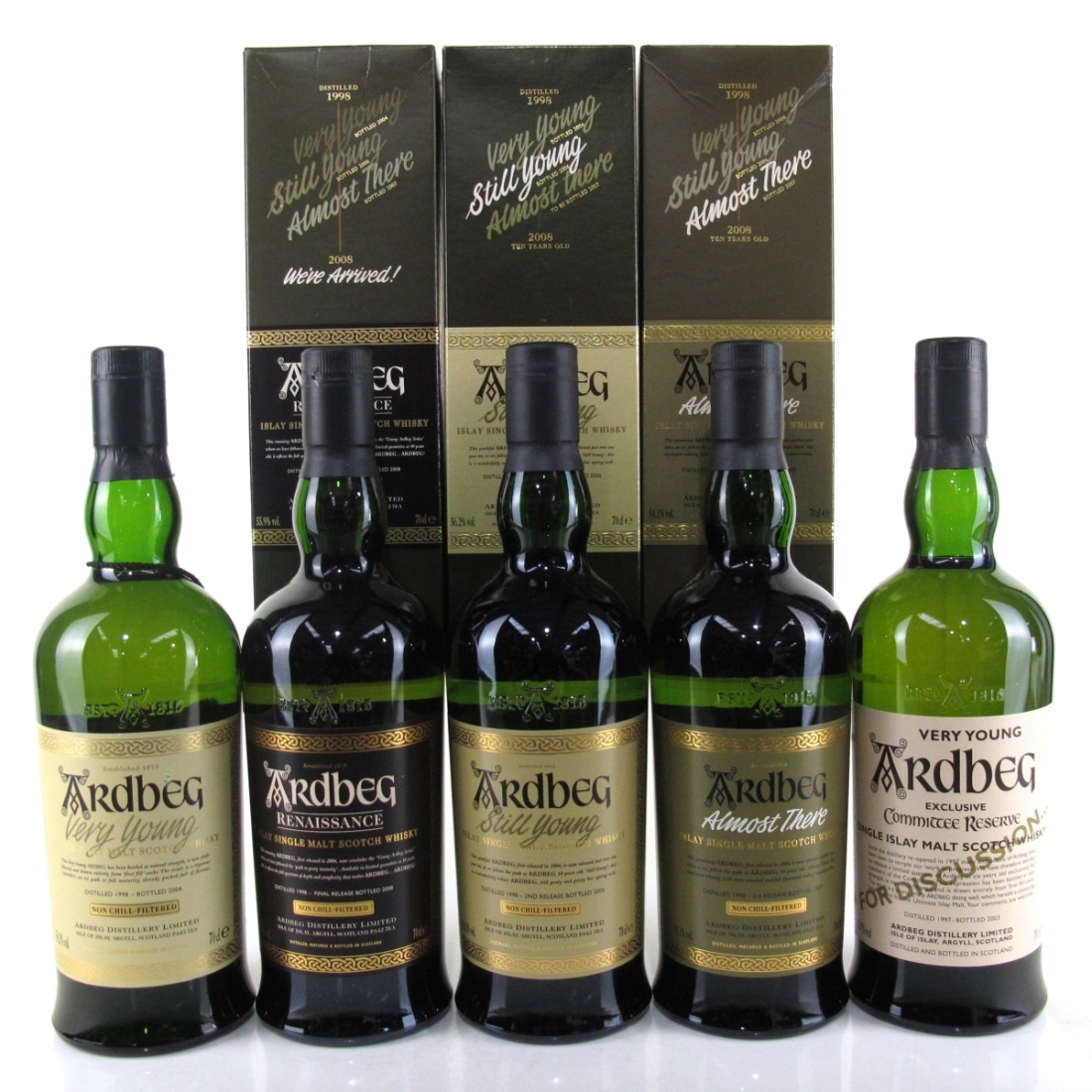 Ardbeg Peaty Path to Maturity Collection 5 x 70cl