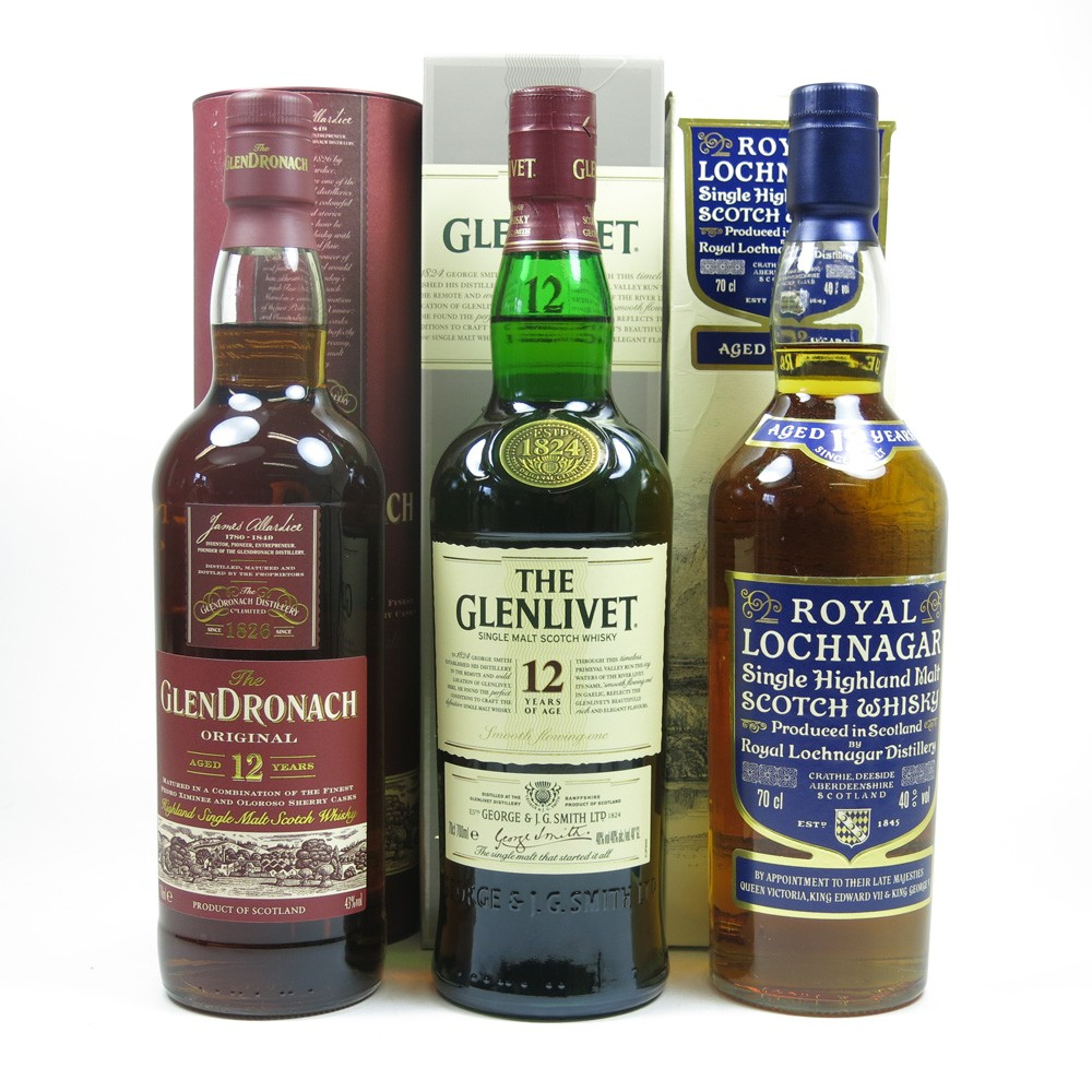 Miscellaneous Single Malt 12Year Olds 3 x 70cl Front