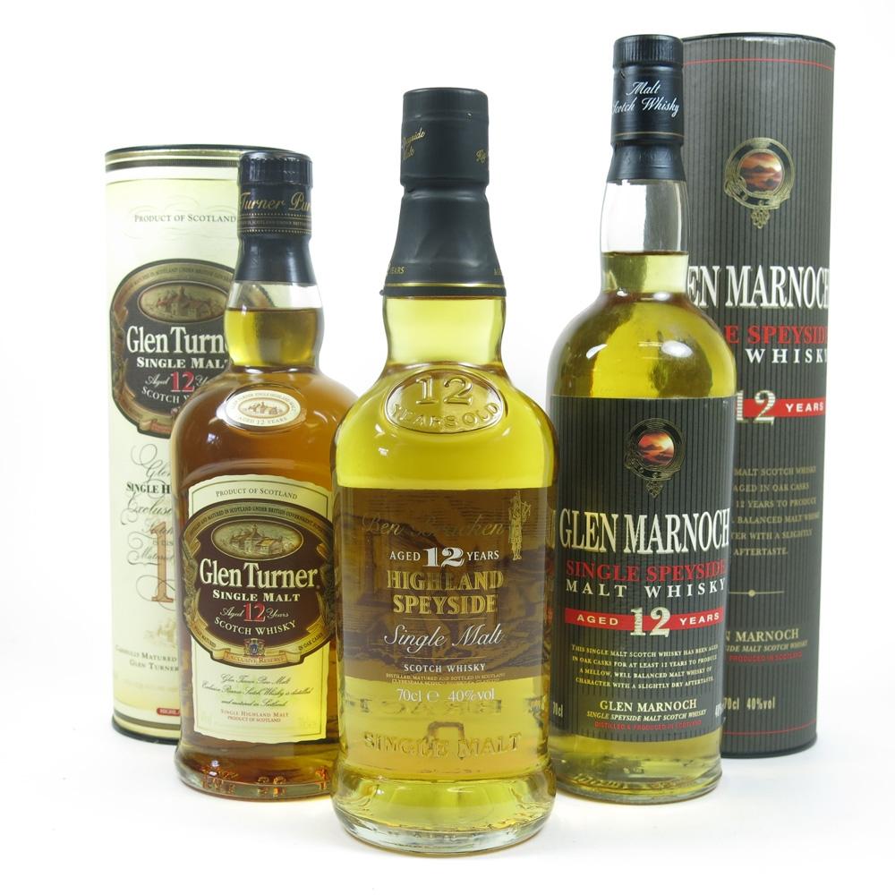 Miscellaneous Single Malt Whiskies 3 x 70cl Front