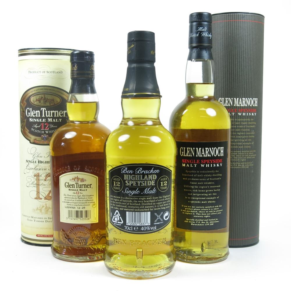 Miscellaneous Single Malt Whiskies 3 x 70cl Back