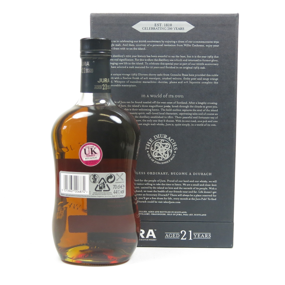 Isle of Jura 21 Year Old 200th Anniversary Back