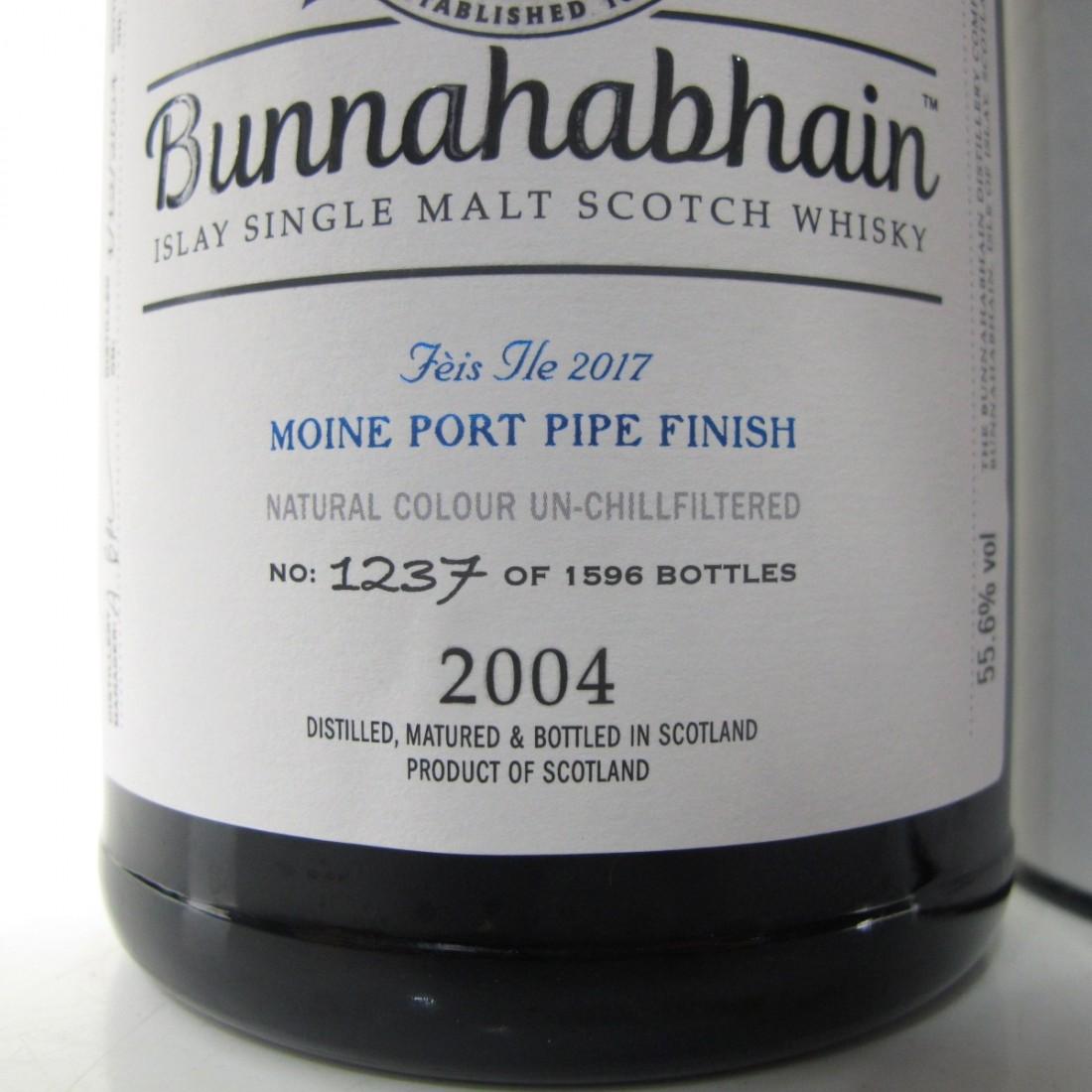 Bunnahabhain 2004 Moine Port Pipe Finish 12 Year Old / Feis Ile 2017
