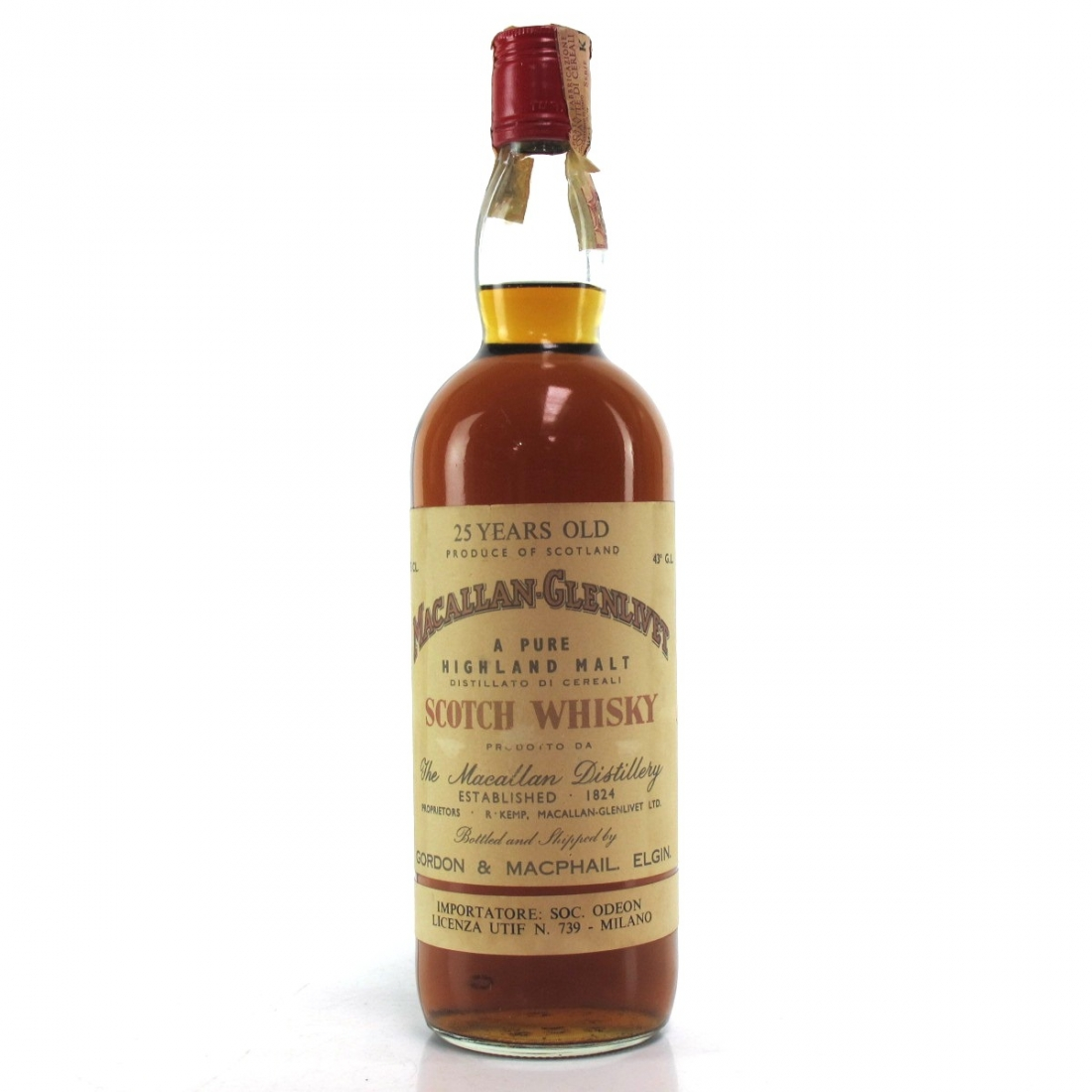 Macallan 25 Year Old Gordon and MacPhail 1970s / Odeon Import