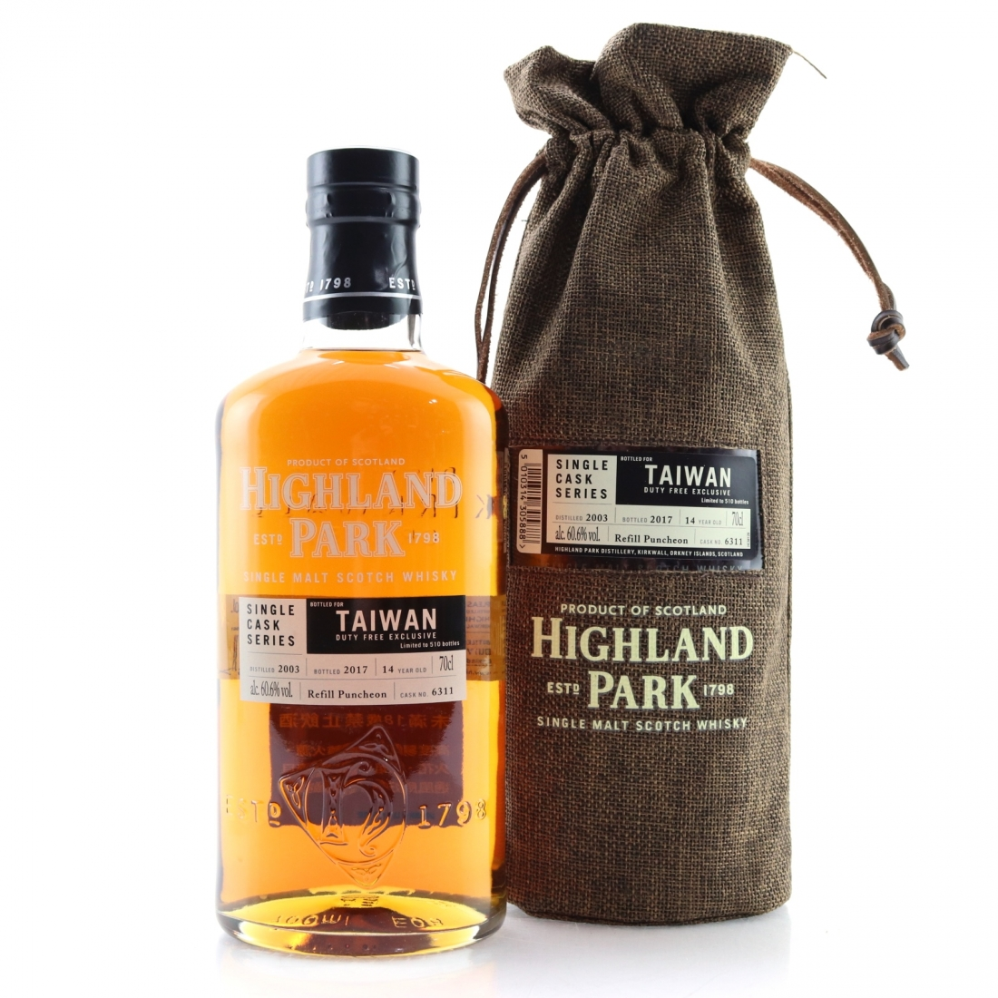 Highland Park 2003 Single Cask 14 Year Old #6311 / Taiwan Duty Free