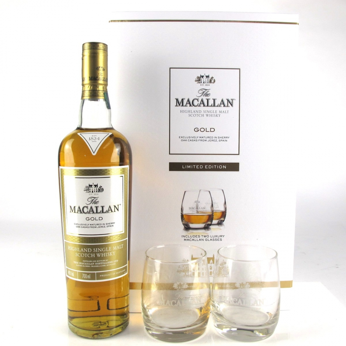 Macallan Gold Gift Pack / Including Two Glasses