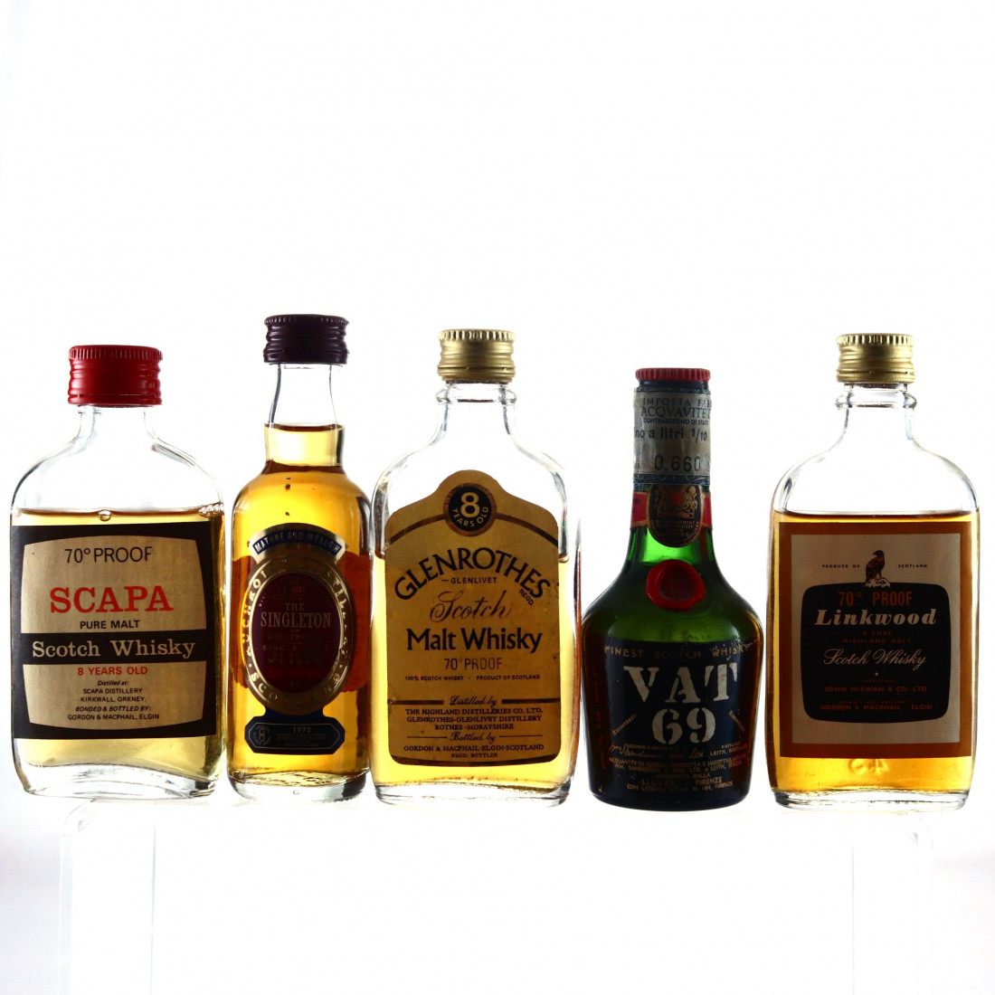 Scotch Whisky Miniatures x 5 / includes Scapa 8 Year Old
