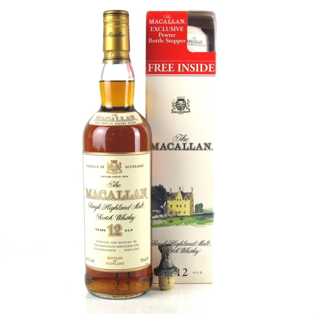 Macallan 12 Year Old 1990s / with Pewter Stopper