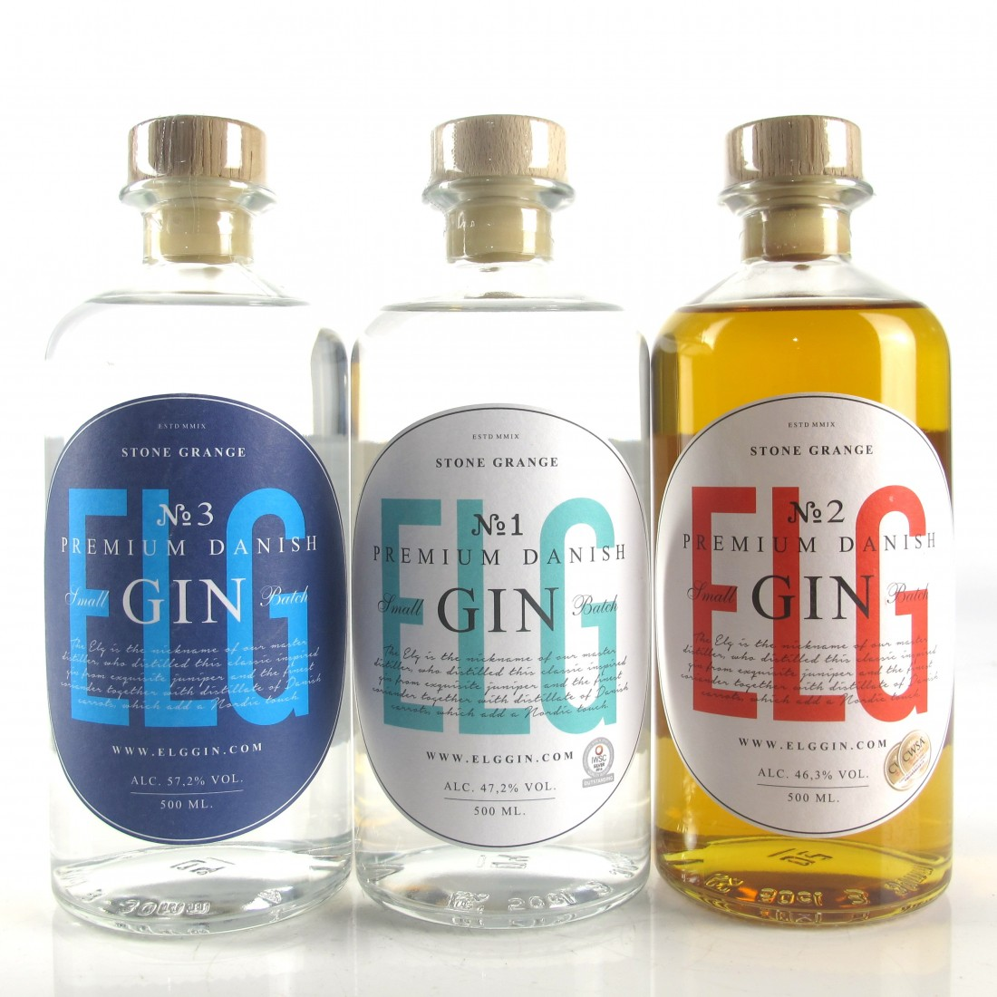 Stone Grange Elg Small Batch Danish Gin Selection 3 x 50cl​