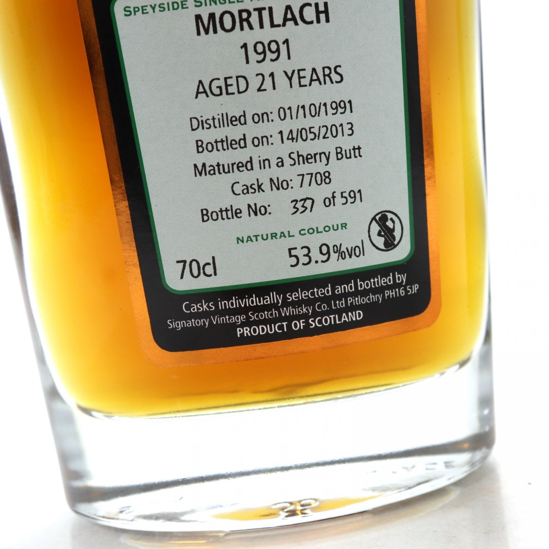 Mortlach 1991 Signatory Vintage 21 Year Old Cask Strength