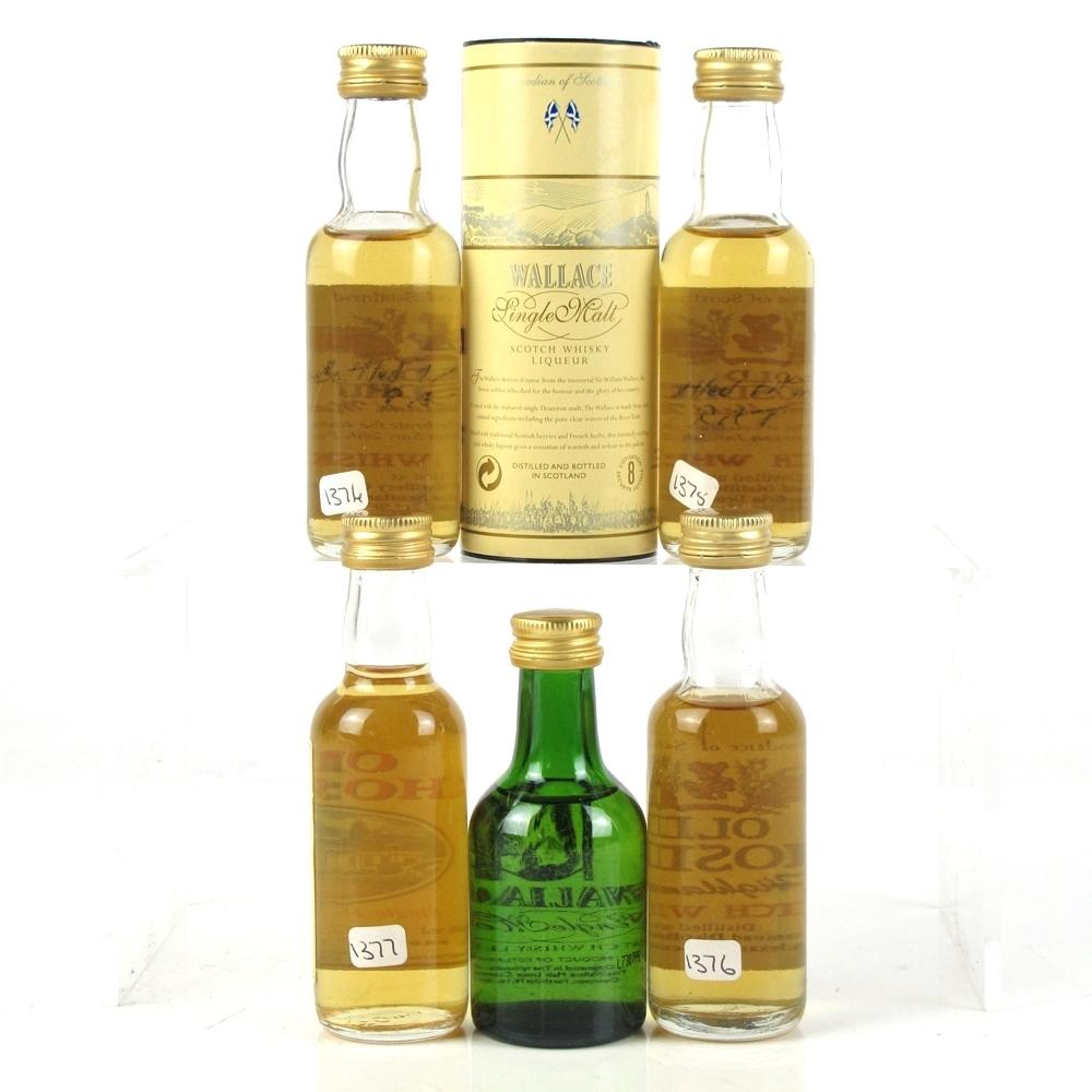 Miscellaneous Old Rhosdhu & Wallace Whisky Liqueur Miniatures 5 x 5cl
